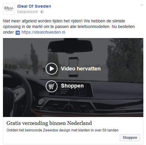 video-advertentie van iDeal of Sweden op Facebook