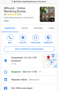 voorbeeld van local voice search in Google