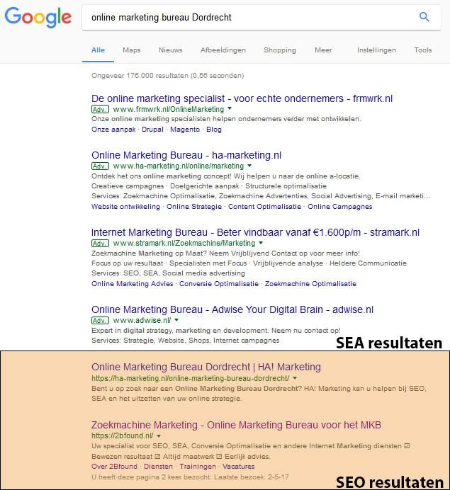 Google resultaten waarvan SEO en SEA