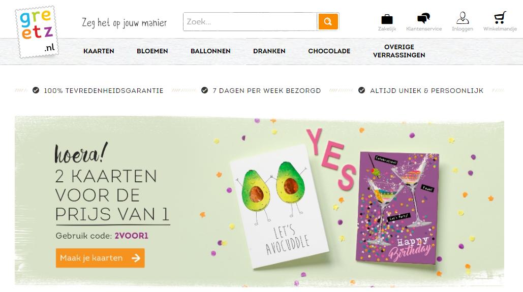 de webshop van Greetz.nl