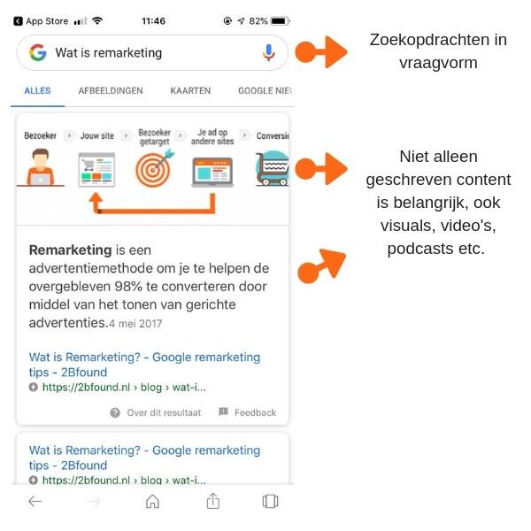 zoekresultaten bij voice search